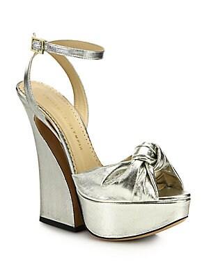 Vreeland Knotted Metallic Lame Platform Sandals