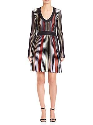 Knit Multicolor-Striped Dress