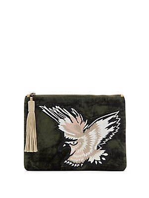 Carol Embroidered Velvet Clutch
