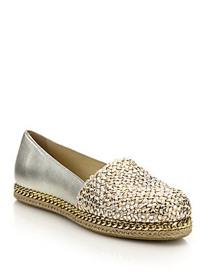 Dayton Chain-Trimmed Woven Metallic Leather Espadrille Flats
