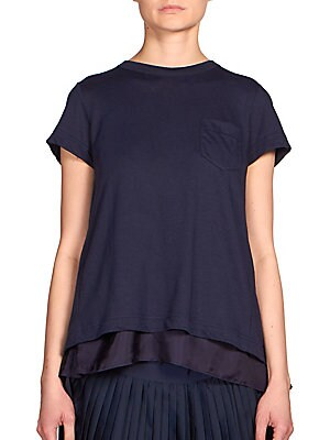 Lace Embroidered Pocket Tee
