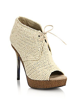 Darfield Raffia Peep-Toe Booties