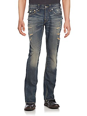 Cotton Faded Straight Jeans