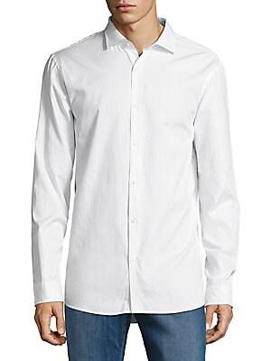 michael kors male solid cotton buttondown shirt