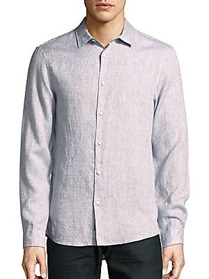 michael kors male slimfit linen shirt