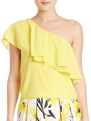 Izidora Silk One Shoulder Ruffle Top