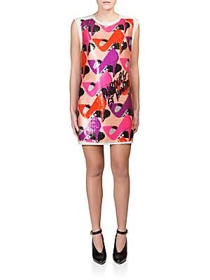 Sequined Shoe-Print Shift Dress
