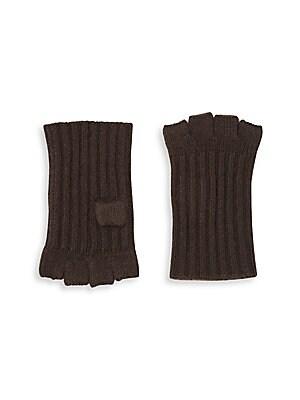 Ribbed Fingerless Cashmere Gloves