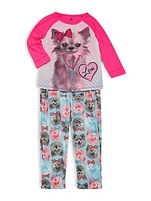 Little Girl's Two-Piece Roundneck Top & Pajama Pants Set