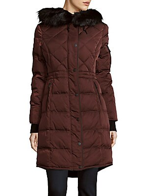 Missy Faux Fur & Down Hooded Coat