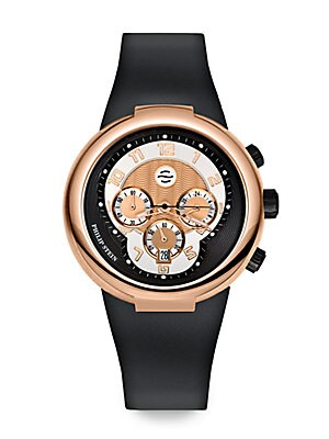 Rose Gold Active Chronograph Watch on Black Silicone Strap