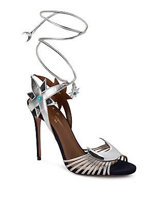 Aquazzura by Poppy Delevingne Midnight Metallic Sandals