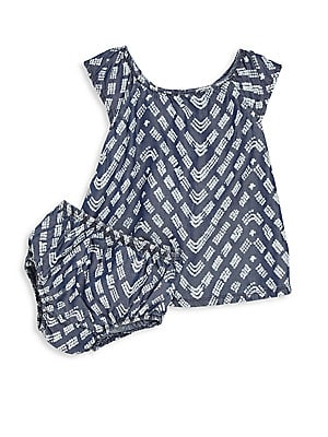 Baby's Two-Piece Printed Denim Dress & Bloomers Set