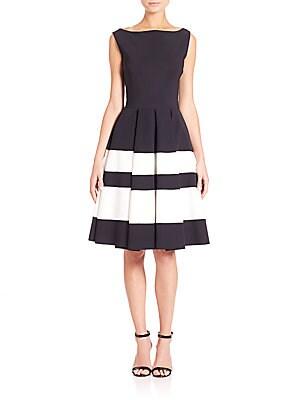 Sleeveless Boatneck Fit-&-Flare Dress
