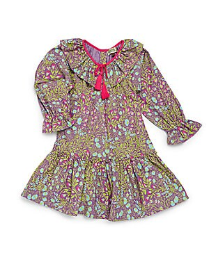 Little Girl's & Girl's Floral Printed Cotton Dress