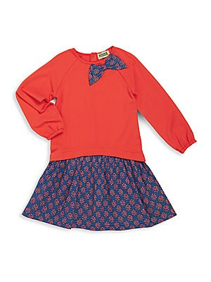 Toddler's & Little Girl's Two-Piece Solid Raglan Top & Cotton Printed Skirt Set