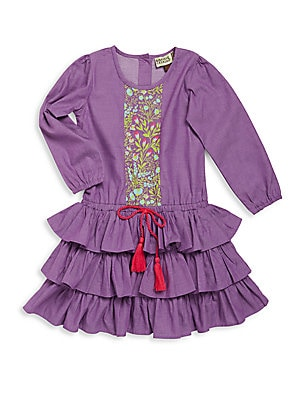 Little Girl's Tiered Ruffle Floral Print Fit & Flare Dress