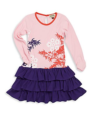 Toddler's, Little Girl's & Girl's Floral & Leaf Print Ruffled Dress