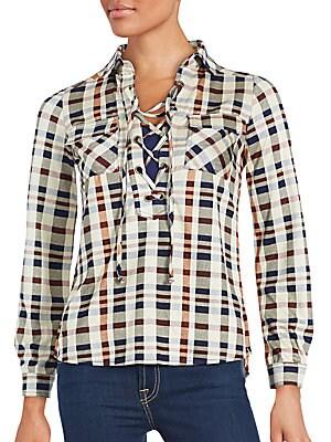 Tie-Up Plaid Shirt