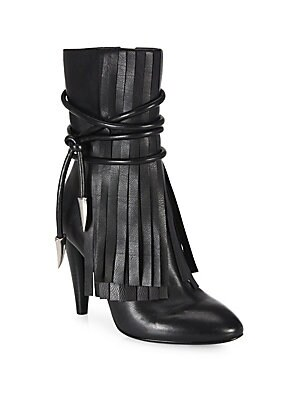 Bird Fringed Leather Point-Toe Booties