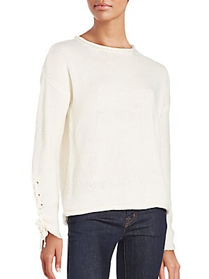 Lace Cord Long Sleeve Sweater