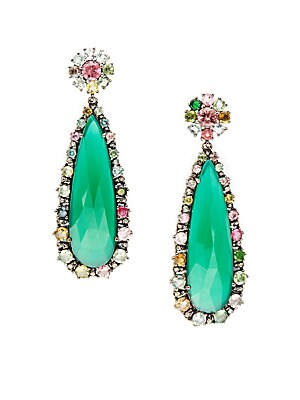 .39TCW Diamonds, Green Onyx, and Tourmaline Sterling Silver Earrings