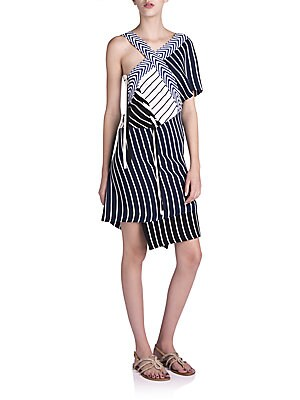 Striped Asymmetrical Knit Dress