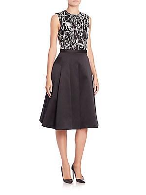 Embroidered Silk/Cotton Satin Twill Dress