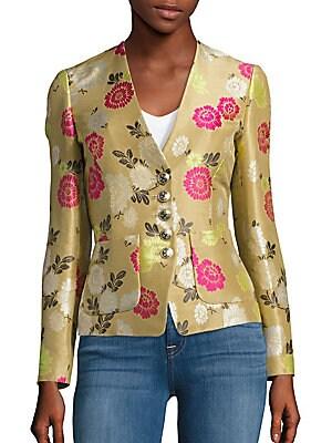 Floral Print Slim-Fit Jacket