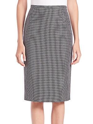 Cotton & Wool Jacquard Pencil Skirt