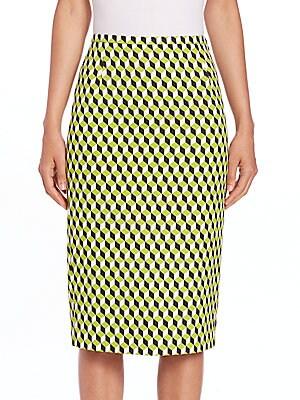 Cube Jacquard Pencil Skirt