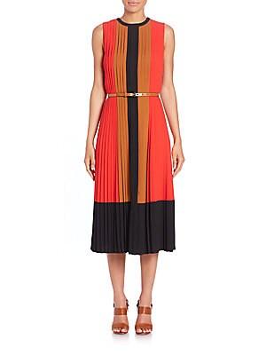 michael kors female pleated silk colorblock dress
