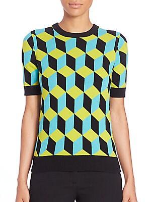 Geometric Print Cashmere Top