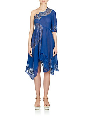 Embroidered Mesh & Lace One-Shoulder Dress
