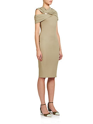Chain-Detail Jersey Wrap Dress