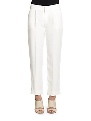 Cropped Pleat-Front Pants