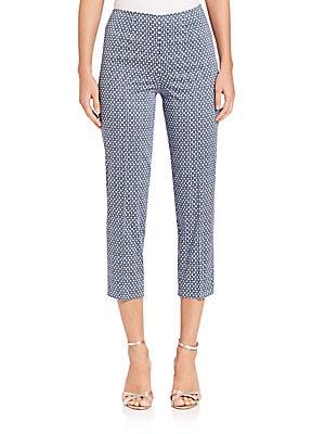Audrey Geometric-Print Cropped Pants