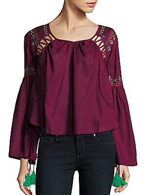 Embroidered Roundneck Top