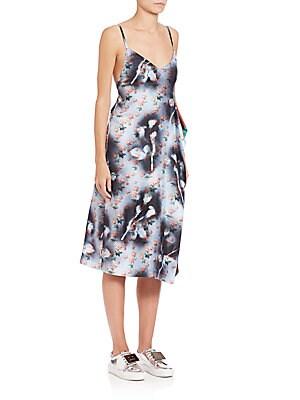 Mixed-Print Silk Tank Dress