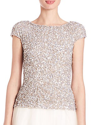 Cap-Sleeve Crunchy Sequin Top