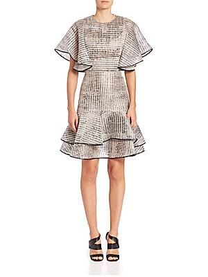 Ruffled Organza Fit-&-Flare Dress