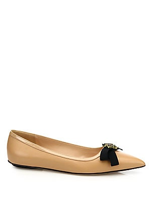 Moody Bee Leather Skimmer Bow Flats