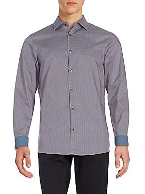 michael kors male check cotton shirt