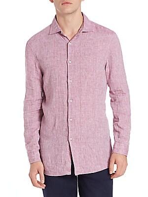 michael kors male slim chambray linen shirt