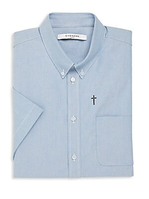Cotton Short Sleeve Button-Down Shirt