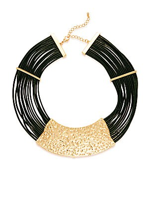 14K Gold-Plated Iron, Zinc & Leather Necklace