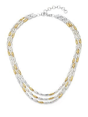24KT Gold Vermeil and Sterling Silver Wheat Necklace