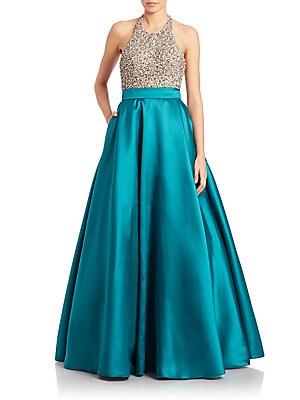 Embellished Halter Ball Gown