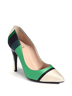 Striped Point-Toe Pumps