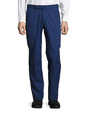 Straight-Fit Cotton & Cashmere-Blend Pants